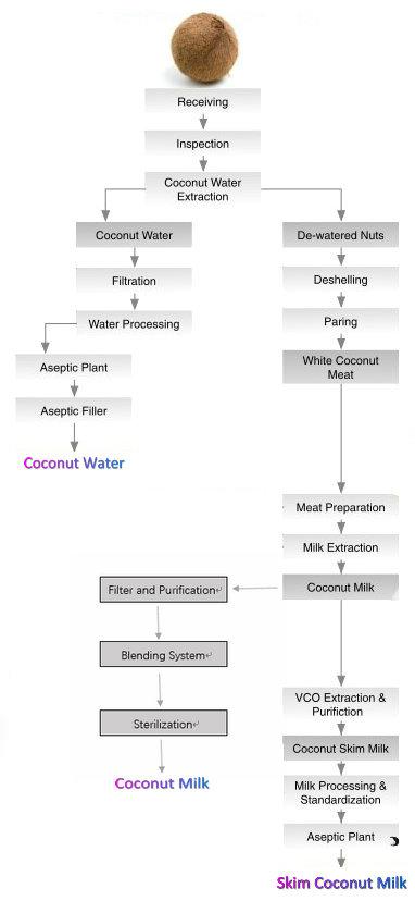 Coconut milk & water processing sample flowchart